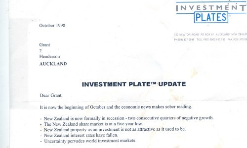 Letter from Investment Plates dated 1998
